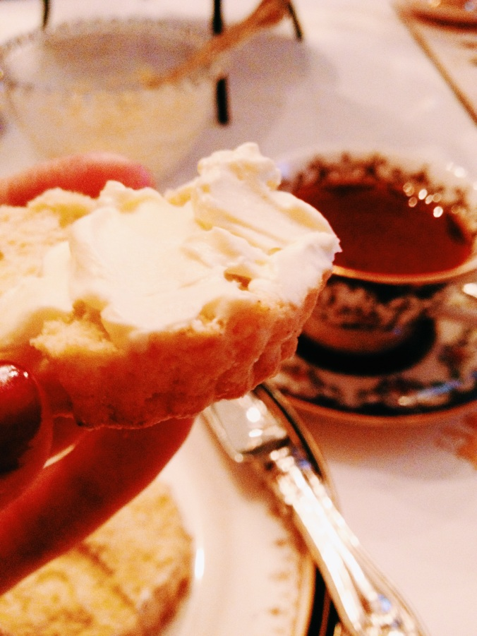 clotted cream on a scone