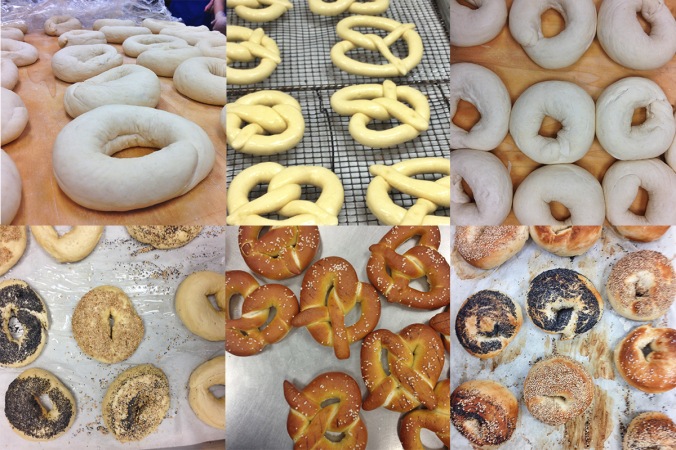 top row (from left to right): shaped bagels, shaped pretzels, more shaped bagels. bottom row (from left to right): topped bagels, finished pretzels, finished bagels.