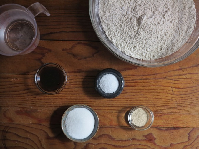 flour, yeast, salt, sugar, barley, water.