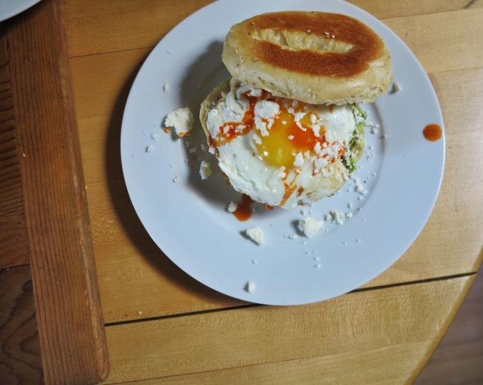 egg on a bagel