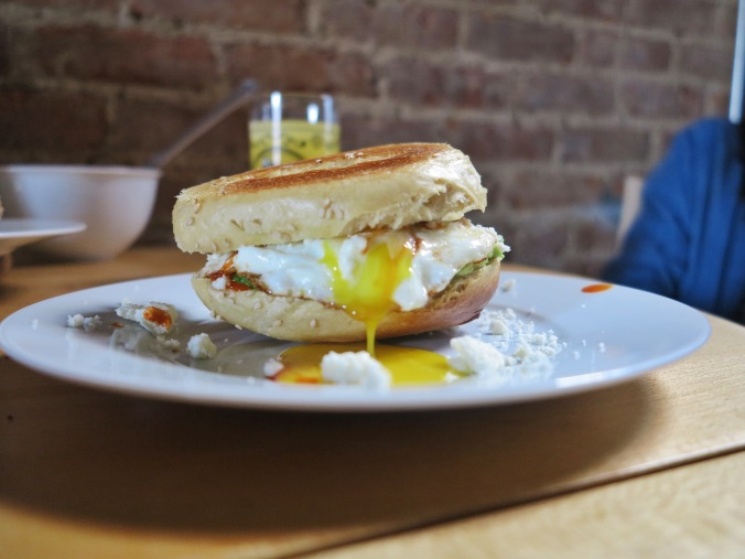 this is a shot every food blogger must have, right? a runny egg being its runny old self?