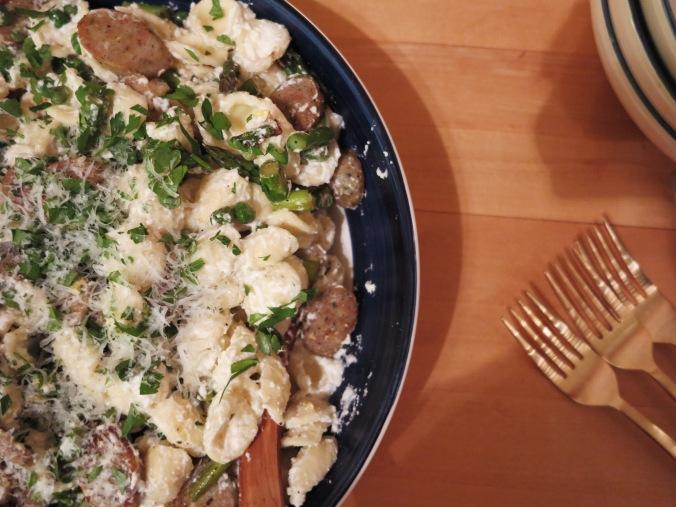 Spring Orecchiette with Asparagus, Peas, Sausage, & Ricotta