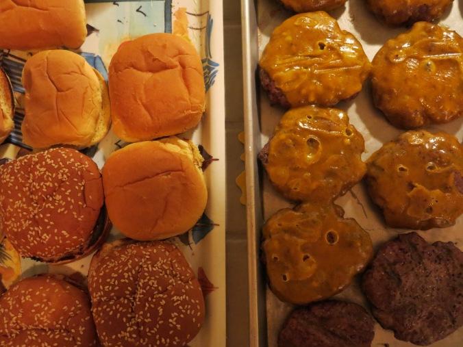 cheeseburgers and buns