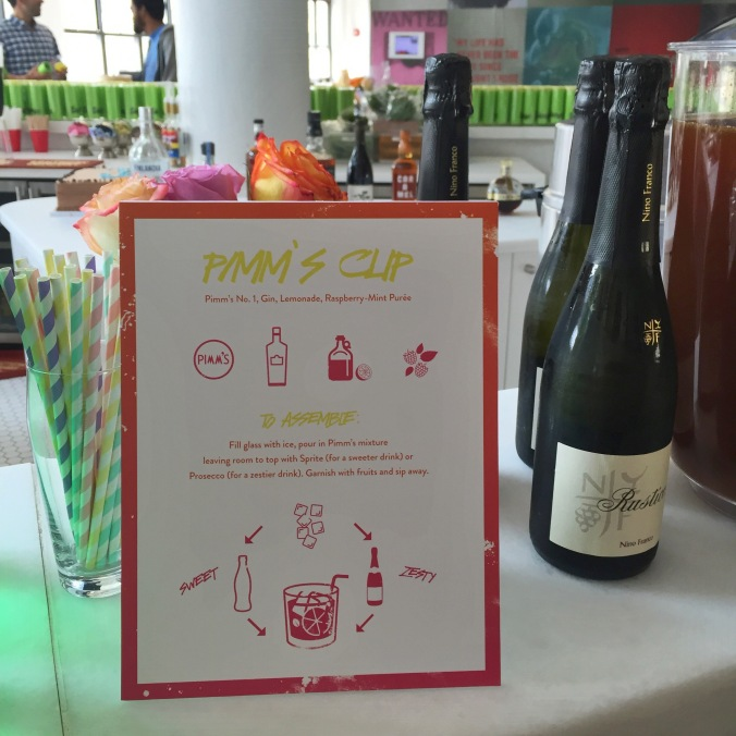 a sign explaining how to assemble your Pimm's Cup for the party.