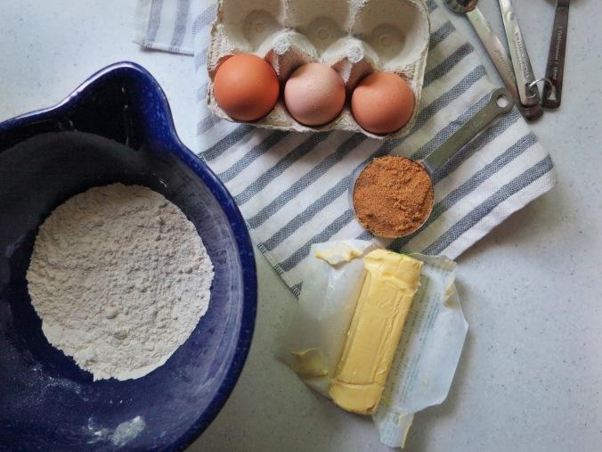 butter, eggs, flour