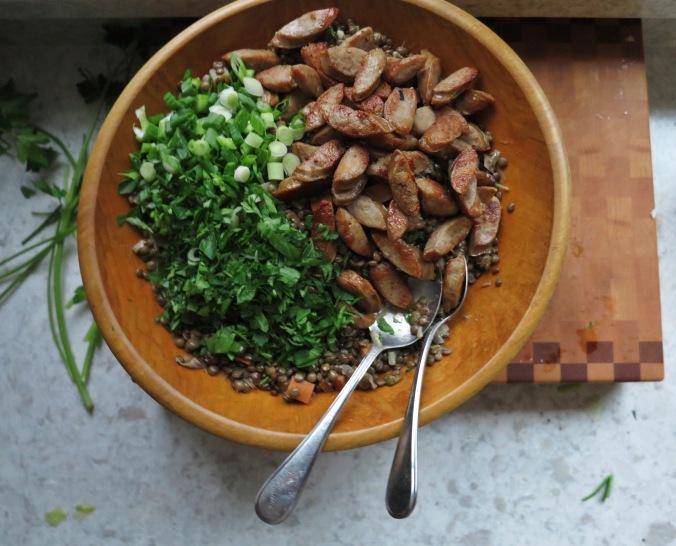 Lentil Salad with Kielbasa | apinchofthis.nyc